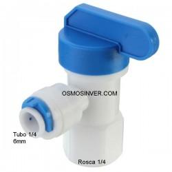 Llave depósito con conexión rápida osmosis inversa, para tubo de 6mm o tubo 1/4, rosca 1/4