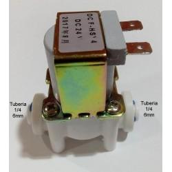 Electrovalvula 24v DC tuberia 1/4, conexión rapida + clip de seguridad