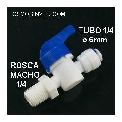 Llave de paso Rosca macho 1/2, tubería conexión rápida 1/4o 6mm