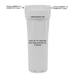 Vaso filtro de cristal 10 pulgadas osmosis inversa 5 etapas estandar