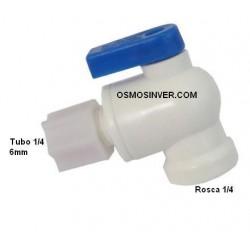 Llave depósito 1/4 Ósmosis Domestica, para tubo de 6mm o 1/4, rosca 1/4