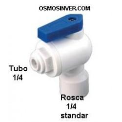 Llave depósito Ósmosis Domestica con conexión rápida, para tubo de 6,35mm o 1/4 y rosca de 1/4