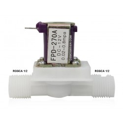 Electroválvula 12v DC - rosca macho 1/2 - presión mínima 0.8kg