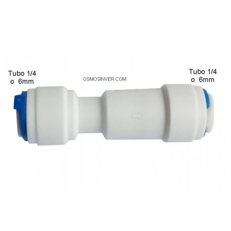 Valvula Anti-retorno con conexion rápida tubo 1/4 - tubo 1/4 o 6mm