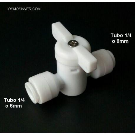 Llave de paso de bola, tubo 1/4 o 6mm conexion rapida
