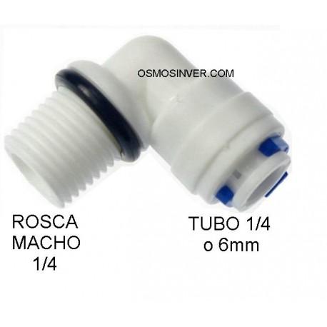 Codo con junta seguridad, ,de conexion rapida, rosca 1/4, tubo 1/4 o 6mm