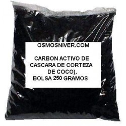 Carbon activo GAG granulado DE CASCARA DE CORTEZA DE COCO, Bolsa de 250 Gramos