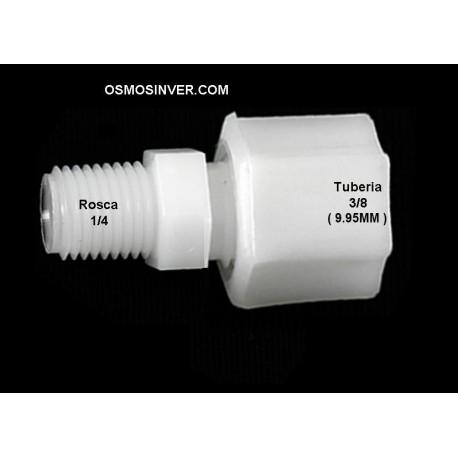Recta rosca macho 1/4 - tubo 3/8 (9.95mm) conexión de rosca para osmosis inversa domestica