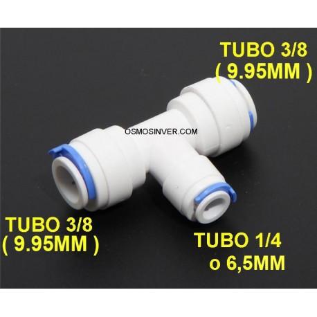 Te conexion rápida tubo 3/8 (9.95mm) - tubo 1/4 (6mm) - tubo 3/8 (9.95mm)