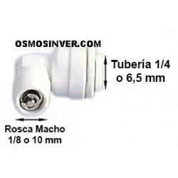 Válvula Anti-retorno ROSCA MACHO 1/8 o 10mm, TUBERIA 1/4 o 6.5mm de conexión rapida