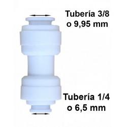 Unión conexión rápida reducción tubo 3/8 (9.95mm) a tubo 1/4 (6,5mm)