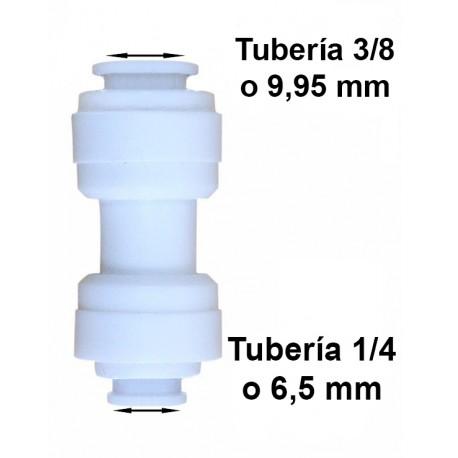 Unión conexión rápida reducción tubo 3/8 (9.95mm) a tubo 1/4 (6mm)