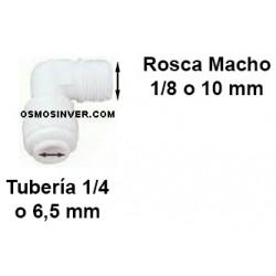 Codo conexion rapida rosca 1/8 tubo 1/4 o 6,5mm para porta-membranas