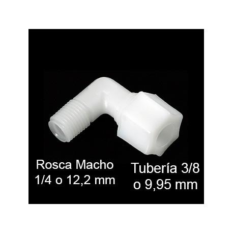 Codo osmosis inversa domestica, conexión de rosta tubo 3/4 (9.95mm) - rosca macho 1/4