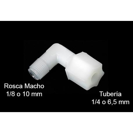 Codo CONEXION ROSCA tubo 1/4 (6mm) - rosca macho 1/8