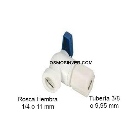 Llave depósito 3/8 Ósmosis, para tubo de 9.95mm o 3/8, rosca 1/4
