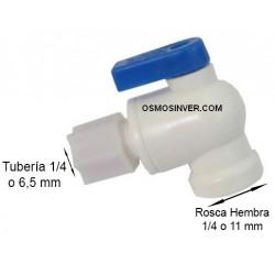 Llave depósito 1/4 Ósmosis Domestica, para tubo de 6,5mm o 1/4, rosca 1/4
