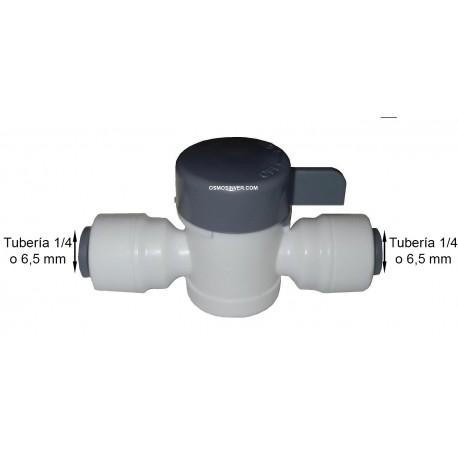 Llave de paso tubo 1/4 o 6mm CON CONEXION RAPIDA A AMBOS LADOS