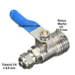Llave de paso tuberia 1/4 o 6,5mm, rosca macho 1/2 - 20,5mm
