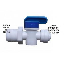 Llave de paso Rosca macho 1/2, tubería conexión rápida 1/4 o 6,5mm