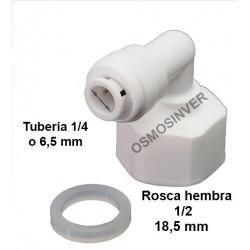 Codo conexion rapida rosca hembra 1/2 - tubo 1/4 o 6,5mm