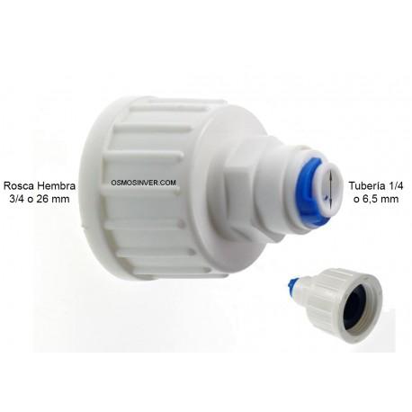 Recta conexion rapida, tubo 1/4 o 6mm, rosca hembra 3/4 con diametro de rosca interior 24.5mm