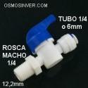 Llave de paso Rosca macho 1/4, tubería conexión rápida 1/4 o 6,5mm
