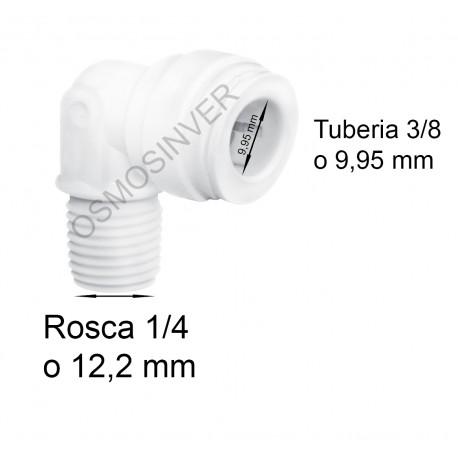 Codo conexion rapida Rosca 1/4 - Tubo 3/8 o 9.95mm