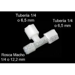Te conexión de rosca para tubo de 1/4 (6mm) - rosca lateral macho 1/4