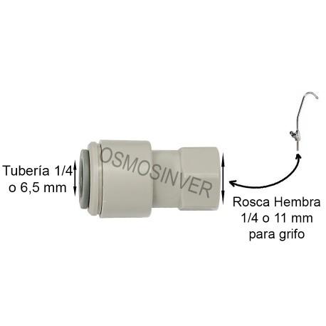 Conexión rapida para grifo osmosis inversa tubo 1/4 - 6,5mm