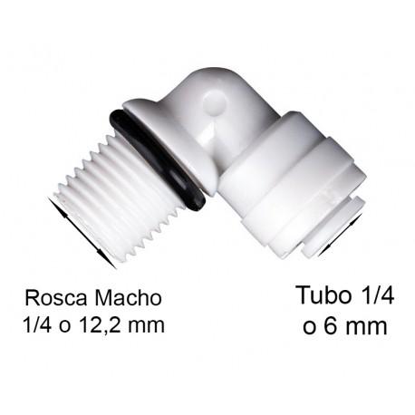 Codo con junta seguridad, ,de conexion rapida, rosca 1/4, tubo 1/4 o 6,5mm