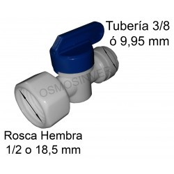 Llave de paso de conexion rapida rosca hembra 1/2 o 18.5 mm - tuberia 3/8 o 9,95 mm