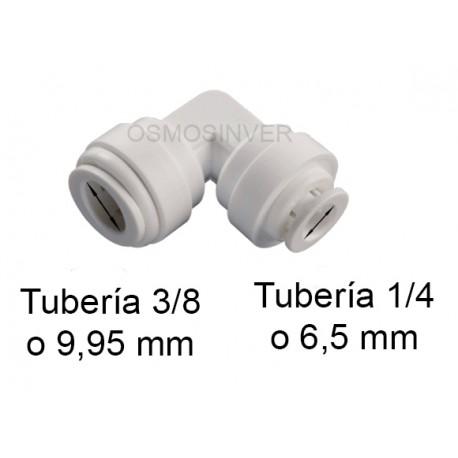 Codo Conexion Rapida Tuberia 1/4 o 6.5 mm a Conexion Rapida Tuberia 3/8 o 9.95 mm