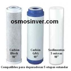 Juego de 3 filtros para osmosis estandar de 10 pulgadas de alto