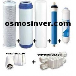Juego de 3 filtros + Post-filtro + membrana + v corte + v anretorno